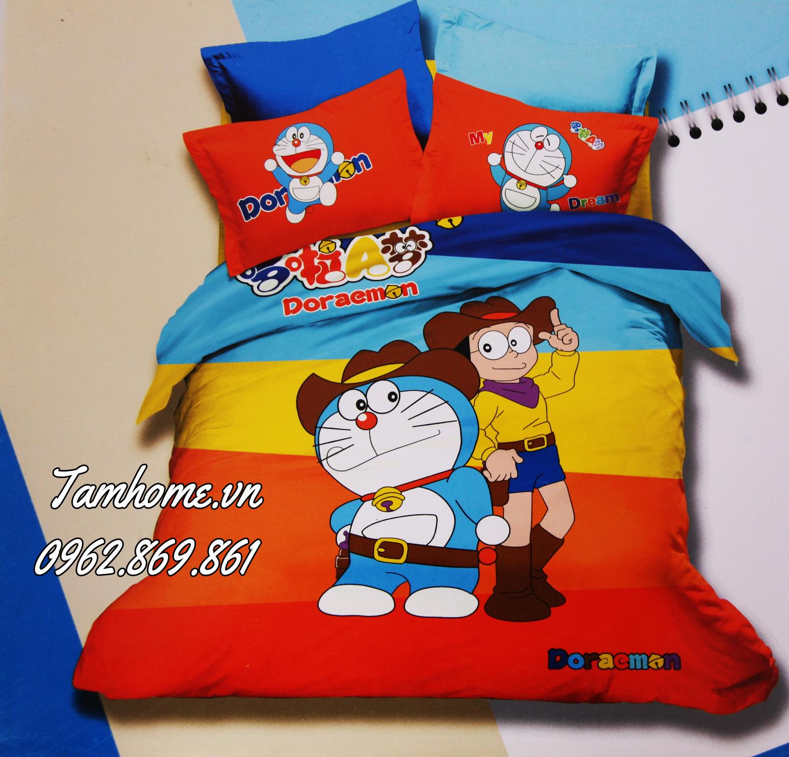 Bộ Chăn Ga Gối Trẻ Em Doremon Và Nobita Tamhomevn Xưởng Chăn Ga Gối